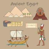 Diverso sistema de la historieta de las características de la civilización egipcia antigua ilustración del vector