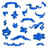 Diverso sistema de las banderas de la cinta brillante azul stock de ilustración