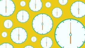 Diverso tamaño de los relojes blancos planos con las flechas móviles en fondo amarillo ilustración del vector