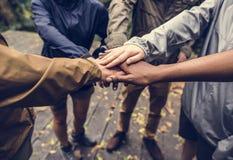 Diverso team-building nella foresta fotografia stock