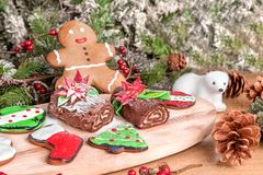 Diverso tipo de galletas de la Navidad con la decoración foto de archivo libre de regalías