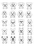 Diverso tipo de perros de la historieta Imágenes de archivo libres de regalías