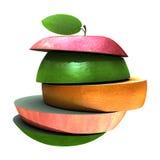 Diverso tipo de rebanadas de la fruta apiladas Fotos de archivo