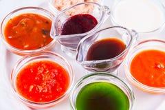 Diverso tipo de salsas Imagenes de archivo