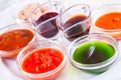 Diverso tipo de salsas Fotografía de archivo libre de regalías