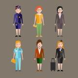 Diverso vector de los caracteres de las profesiones de la gente Fotografía de archivo libre de regalías