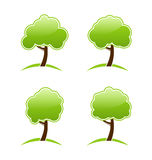Diversos árboles verdes abstractos de los iconos Fotografía de archivo libre de regalías