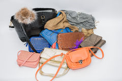 Diversos accesorios de vestir hermosos y monederos de cuero diseñados de moda de las señoras Imagen de archivo