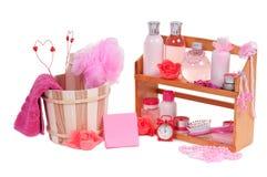 Diversos accesorios del balneario y corazón de dos tarjetas del día de San Valentín Imagen de archivo
