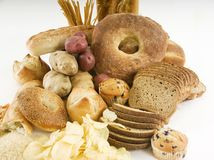 Diversos alimentos almidonados Imagen de archivo