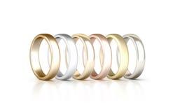 Diversos anillos de los metales preciosos fijados se colocan aislados, de oro, de plata, rosa Fotos de archivo libres de regalías