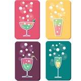 Diversos bebidas e iconos de los cocteles Fotos de archivo libres de regalías