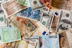 Diversos billetes de banco del mundo Imágenes de archivo libres de regalías