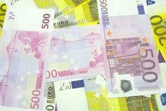 Diversos billetes de banco euro de 200 y 500 billetes de banco euro EuroDifferent Imagen de archivo
