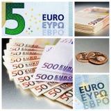 Diversos billetes de banco euro y monedas del centavo euro Foto de archivo libre de regalías