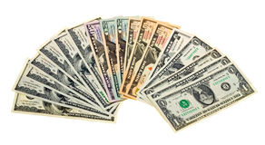 Diversos billetes de banco los E.E.U.U. Aislado en blanco Fotos de archivo libres de regalías