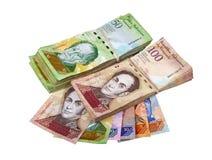 Diversos billetes de banco venezolanos Imagen de archivo libre de regalías