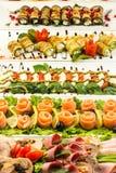 Diversos bocados para comer el día de fiesta en las placas blancas en el fondo blanco Cocina, menú, concepto de la comida Plato d Fotografía de archivo libre de regalías
