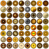 Diversos botones de costura aislados en blanco Sistema mega del sistema redondo del botón del metal realista ilustración 3D Vecto Imágenes de archivo libres de regalías