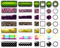 Diversos botones e iconos coloreados para el diseño web Imágenes de archivo libres de regalías
