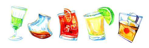 Diversos cócteles del alcohol Ejemplo exhausto del bosquejo de la mano de la acuarela libre illustration