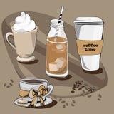 Diversos cafés Ejemplo del vector en fondo marrón Imágenes de archivo libres de regalías
