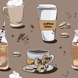 Diversos cafés, modelo inconsútil Ejemplo del vector en fondo marrón Foto de archivo