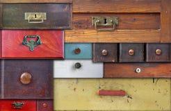 Diversos cajones viejos - en secreto completo Imágenes de archivo libres de regalías