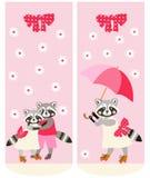 Diversos calcetines con los mapaches lindos Modelo del vector Estilo del animado libre illustration