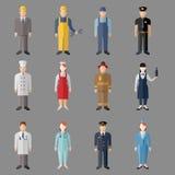 Diversos caracteres de las profesiones de la gente fijados Fotografía de archivo libre de regalías