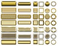 Diversos colores oro de botones y de iconos para el webdesign Fotografía de archivo libre de regalías