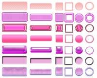 Diversos colores rosados de botones y de iconos para el diseño web Foto de archivo