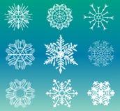Diversos copos de nieve fijados Foto de archivo libre de regalías