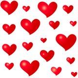 Diversos corazones del rojo de los tamaños Modelo inconsútil aislado en el fondo blanco Símbolo del amor y del romance Foto de archivo libre de regalías