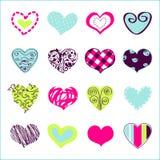 Sistema de los corazones dibujados mano para usted Imagen de archivo