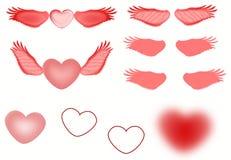 Diversos corazones y alas del vuelo con pendientes y el ejemplo transparente de los efectos stock de ilustración