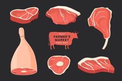 Diversos cortes de carnes determinados Las imágenes para el concepto de granjeros comercializan y hacen compras stock de ilustración