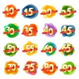 Diversos dígitos con las cintas ilustración del vector