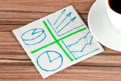 Diversos diagramas em um guardanapo Imagem de Stock