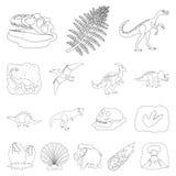 Diversos dinosaurios resumen iconos en la colección del sistema para el diseño Ejemplo animal prehistórico del web de la acción d libre illustration