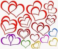 Diversos Doble-corazones Fotografía de archivo libre de regalías