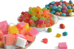 Diversos dulces aislados en el fondo blanco Imagenes de archivo