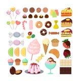 Diversos dulces fijados stock de ilustración
