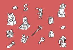 Diversos elementos del holandés Sinterklaas ilustración del vector