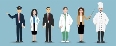 Diversos empleados de los empleos del hombre y de la mujer en el uniforme, grupo de trabajadores, historieta determinada de la pr Fotografía de archivo libre de regalías