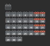 Diversos estilos de los iconos del web del calendario Fotos de archivo libres de regalías