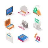 Diversos estilos isométricos do ícone Grupo de ícones bonitos Fotos de Stock