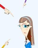 Diversos fingeres de las manos que señalan en la muchacha Concepto de acusación externa o vergüenza y frustración internas Foto de archivo