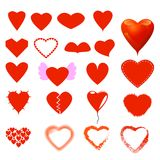 Diversos forma del corazón y sistema del estilo fotografía de archivo libre de regalías