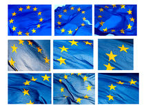 Diversos fragmentos del indicador de la UE en el fondo blanco Imágenes de archivo libres de regalías